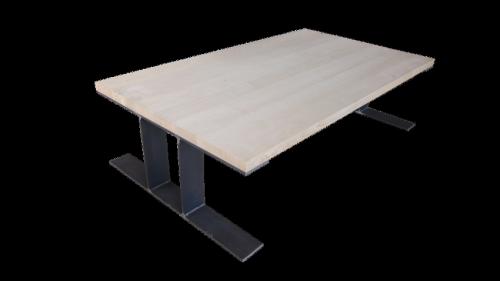 table basse frêne et acier