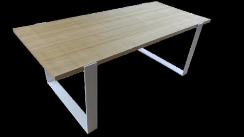 table châtaignier et acier laqué