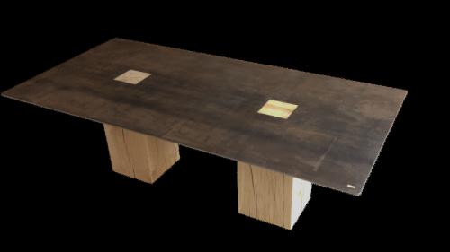 table acier chêne