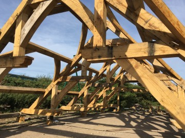 Oak frame building Double Hammer Beam Hall
